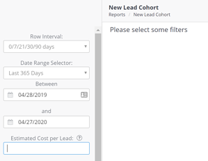 New Lead Cohort filters with no estimated cost per lead