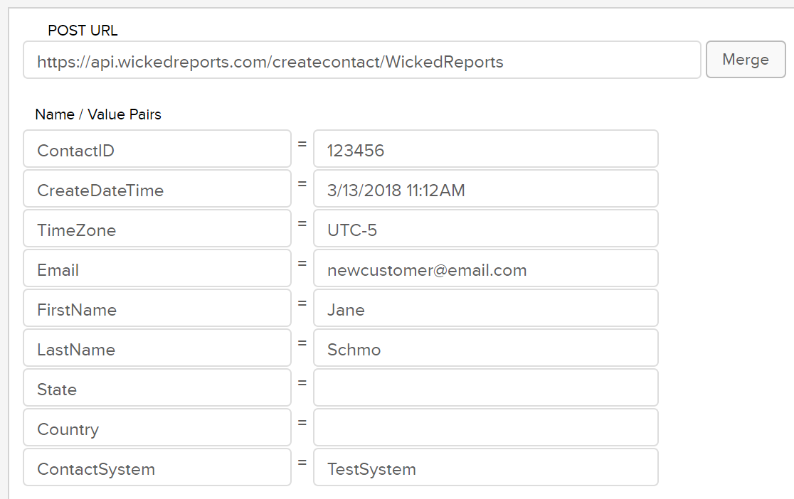 wicked reports creating contacts with http post
