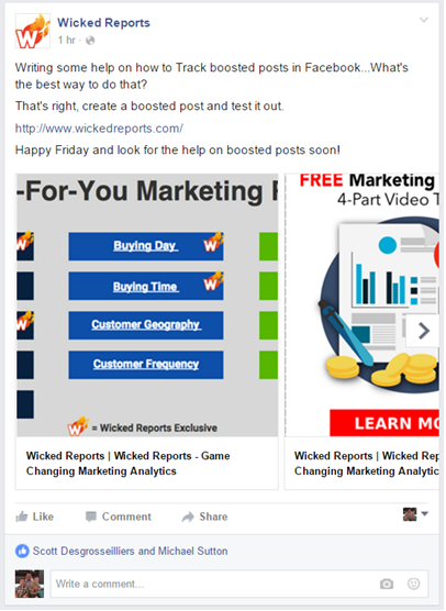 tracking facebook boosted posts
