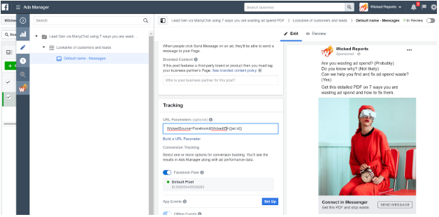 Tracking Facebook messenger ads to ManyChat Bots to external Website URLs