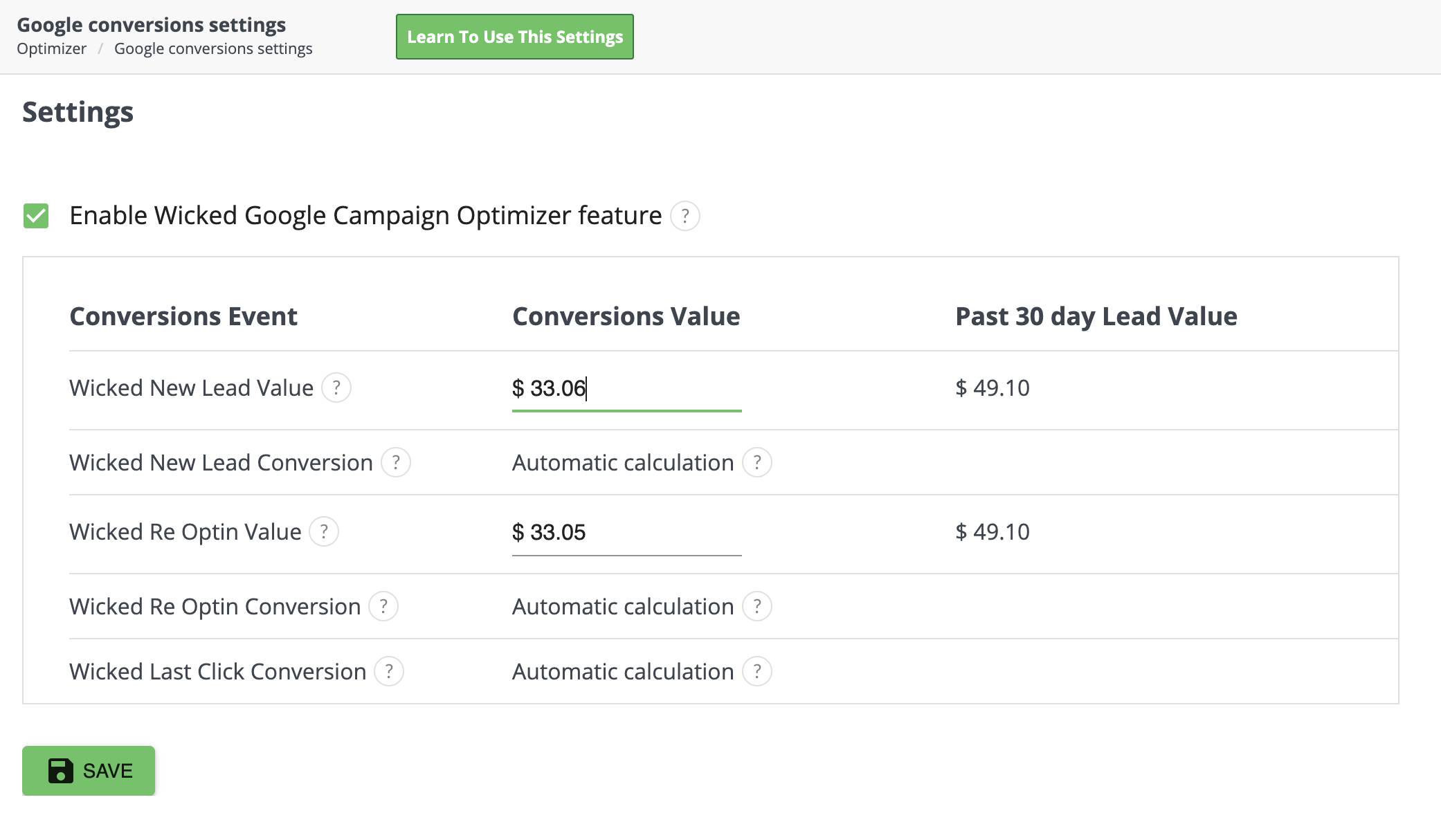 google conversion optimizer settings