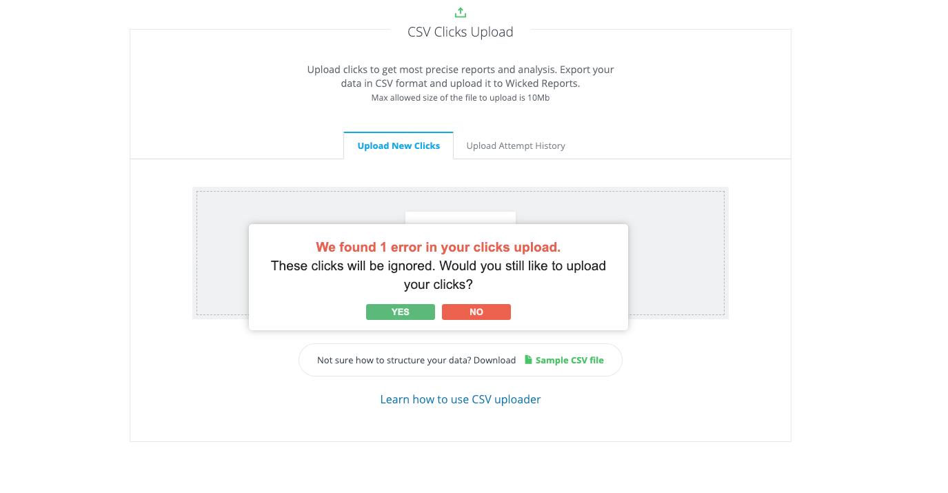 custom clicks csv