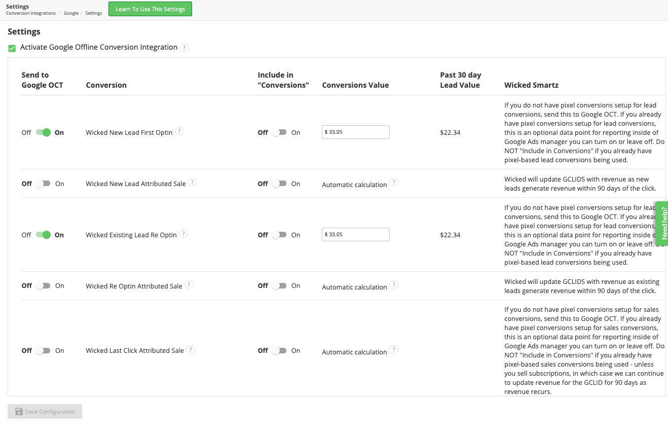 wicked reports google offline conversions
