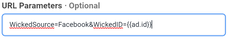 How to manually add WickedID to a Facebook Ad